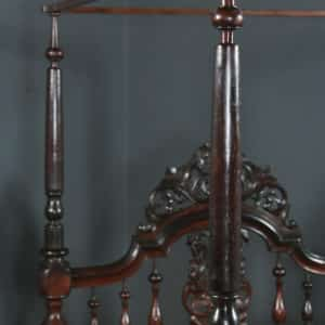 """Antique 4ft 6"""" Victorian Anglo-Indian Colonial Raj Double Size Four Poster Bed (Circa 1880) - yolagray.com"""