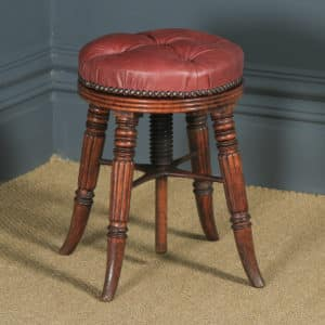 Antique English Regency Oak & Leather Revolving Adjustable Piano Music Stool (Circa 1830) - yolagray.com