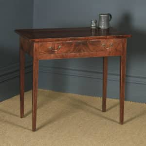 Antique English Georgian Flame Mahogany Occasional Side Hall Writing Table (Circa 1780) - yolagray.com