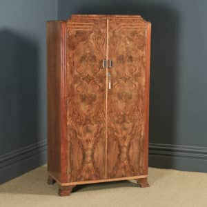 Antique English Art Deco Figured Walnut Inlaid Two Door Wardrobe (Circa 1930) - yolagray.com