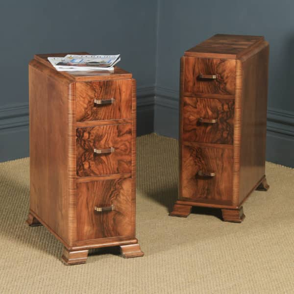 Antique Pair of English Art Deco Figured Walnut Bedside Cabinet Chests Tables Nightstands (Circa 1930) - yolagray.com