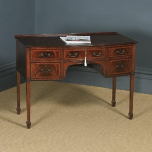 Antique English Edwardian Georgian Style Flame Mahogany Bow Front Ladies Writing Table Desk (Circa 1910) - yolagray.com