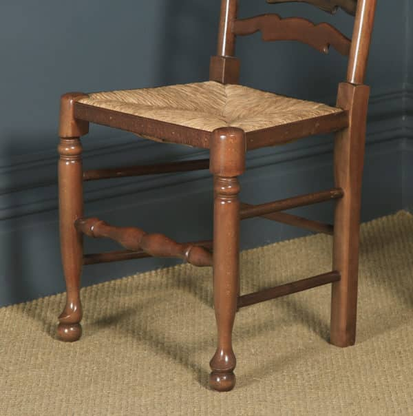 Set of Four Victorian Style Ash, Elm & Beech Ladder Back Farmhouse Kitchen Dining Chairs (Circa 1970) - yolagray.com