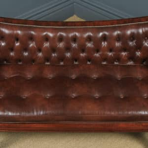 Antique English William IV Mahogany & Brown Leather Double Ended Couch / Settee / Sofa (Circa 1830) - yolagray.com