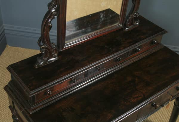 Antique Victorian Anglo Indian Colonial Ebonised Teak Dressing Table with Mirror (Circa 1870) - yolagray.com