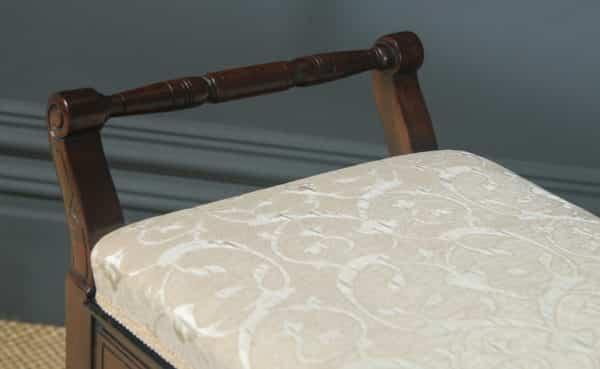 Antique English Victorian Mahogany Piano / Music / Duet Stool (Circa 1880) - yolagray.com