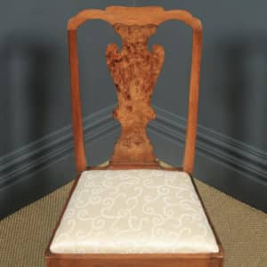 Antique English Victorian Queen Anne Style Burr Walnut Dining / Side / Office Desk Chair (Circa 1890) - yolagray.com