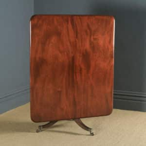Antique English Georgian Regency Figured Mahogany Tilt Top Breakfast Pedestal Dining Table (Circa 1820) - yolagray.com