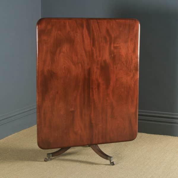 Antique English Georgian Regency Figured Mahogany Tilt Top Breakfast Pedestal Dining Table (Circa 1820) - yolagray.com