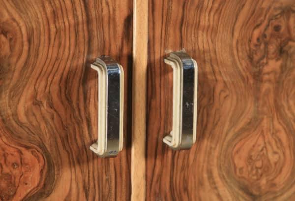 Antique English Art Deco Figured Walnut Inlaid Two Door Wardrobe (Circa 1930) - yolagray.com