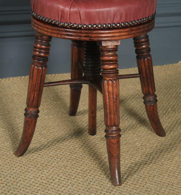 Antique English Regency Oak & Leather Revolving Adjustable Piano Music Stool (Circa 1830) - yolagray.com