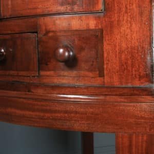 Antique English Georgian Flame Mahogany Floor Standing Bow Front Corner Cupboard on Stand (Circa 1820) - yolagray.com