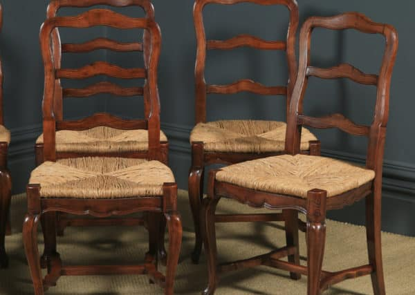 Antique French Set of 6 Six Louis XV Style Cherry Wood Ladder Back Kitchen Dining Chairs (Circa 1860) - yolagray.com