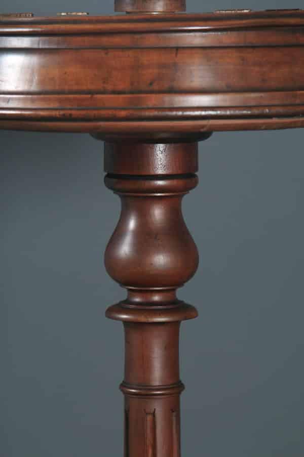 Antique English Victorian Mahogany Adjustable Barbers Shaving Stand & Vanity Mirror (Circa 1860) - yolagray.com