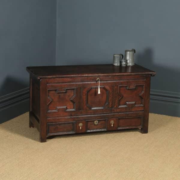 Antique English 17th Century Oak Geometric Mule Chest / Blanket Box / Trunk (Circa 1680) - yolagray.com