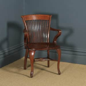 Antique English Edwardian Oak Office Desk Arm Chair (Circa 1910) - yolagray.com