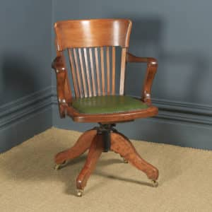 Antique English Edwardian Beech & Green Leather Revolving Office Desk Arm Chair (Circa 1910) - yolagray.com