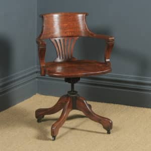 Antique English Edwardian Solid Oak Revolving Office Desk Arm Chair (Circa 1910) - yolagray.com