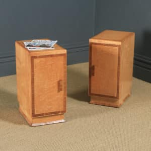 Antique English Pair of Art Deco Birds Eye Maple & Walnut Bedside Cupboards Tables Nightstands (Circa 1930) - yolagray.com