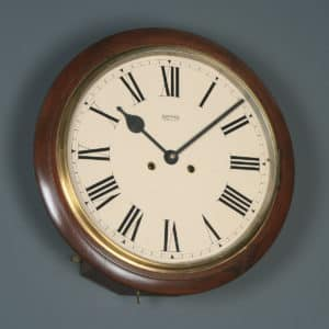 "Antique 15"" Mahogany Smiths Enfield Railway Station / School Wall Clock (Chiming) - yolagray.com"