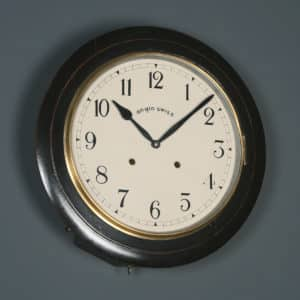 "Antique 16"" Mahogany Anglo Swiss Railway Station / School Round Dial Wall Clock (Chiming) - yolagray.com"