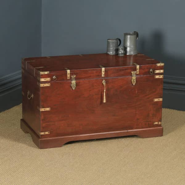 Large Antique Victorian Anglo Indian Colonial Campaign Teak & Brass Chest / Trunk (Circa 1870) - yolagray.com