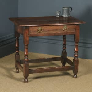 Antique English Late 17th Century Oak Occasional Hall Writing Lowboy Side Table (Circa 1680) - yolagray.com