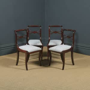 Antique English Georgian Regency Set of Four 4 Mahogany Rope Twist Dining Chairs (Circa 1820) - yolagray.com