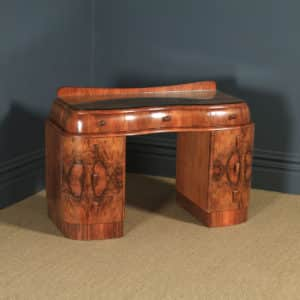 Antique English Art Deco Figured Walnut & Glass Cloud Shaped Pedestal Office Desk (Circa 1930) - yolagray.com