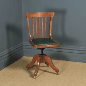Antique English Edwardian Beech & Green Leather Revolving Office Desk Side Chair (Circa 1910) - yolagray.com