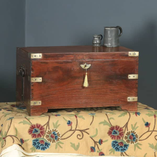 Antique Anglo-Indian Victorian Colonial Teak & Brass Mounted Campaign Chest / Trunk / Box (Circa 1870) - yolagray.com
