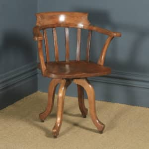 Antique English Edwardian Beech, Birch & Elm Revolving Office Desk Arm Chair (Circa 1910) - yolagray.com
