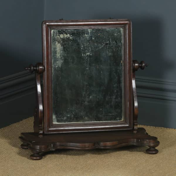 Antique Anglo-Indian Colonial Victorian Teak Dressing Table Mirror (Circa 1870) - yolagray.com