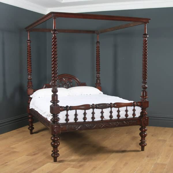 """Antique 5ft 4"""" Victorian Anglo-Indian Colonial Raj King Size Four Poster Bed (Circa 1880) - yolagray.com"""