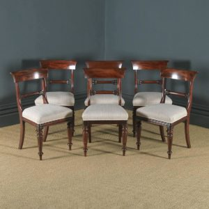 Antique English William IV Set of Six Mahogany Bar Back Dining Chairs (Circa 1835) - yolagray.com
