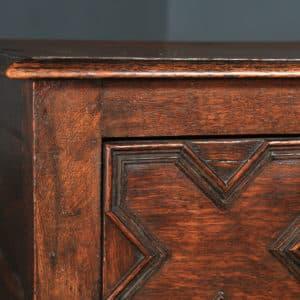 Antique English Victorian Jacobean Style Oak Geometric Dresser Base Sideboard (Circa 1870) - yolagray.com
