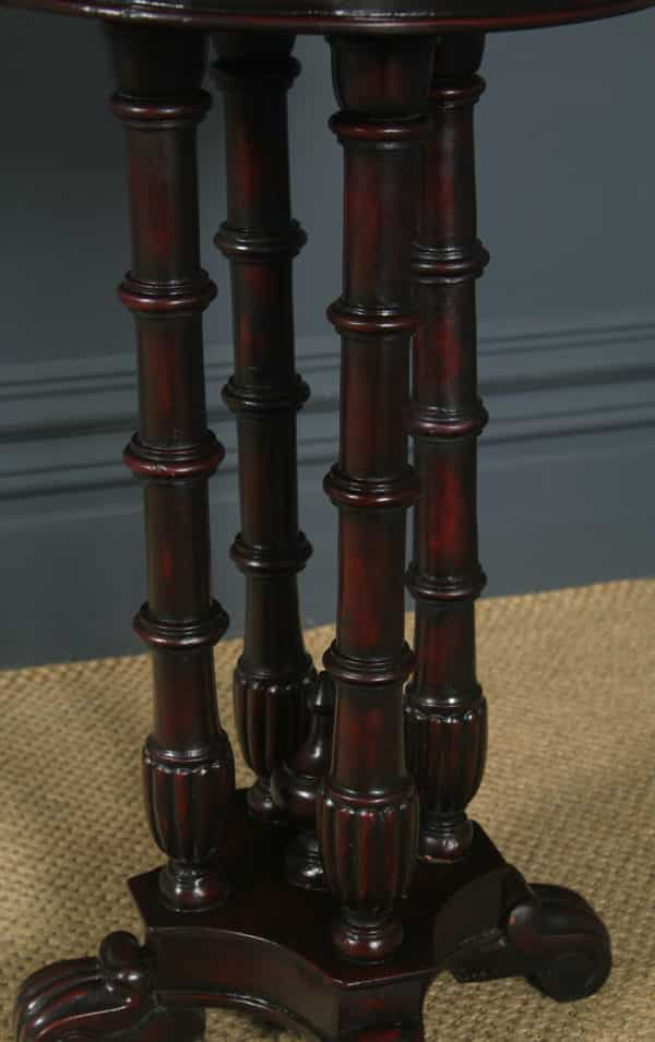 Antique George V Anglo-Indian Padauk & Marble Circular Wine Lamp Occasional Table (Circa 1930) - yolagray.com
