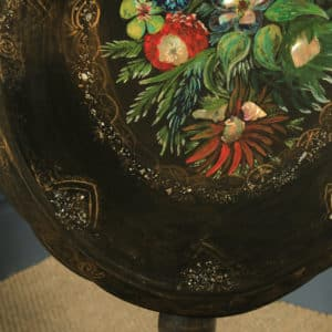 Antique English Victorian Black Ebonised Chinoiserie Papier Mâché Folding Occasional Tripod Table (Circa 1870) - yolagray.com