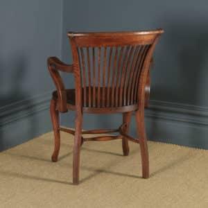 Antique English Edwardian Oak Office Desk Arm Chair (Circa 1910) - yolagray.com