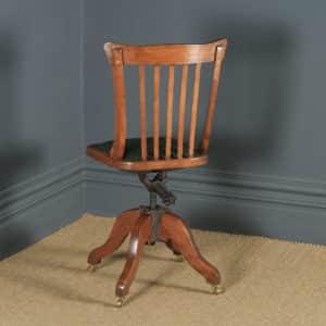 Antique English Edwardian Beech & Green Leather Revolving Office Desk Side Chair (Circa 1910) - yolagray.com