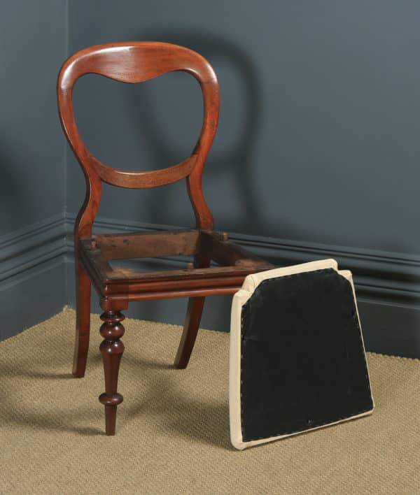 Antique English Victorian Pair of Two Mahogany Balloon Back Dining / Side / Office Desk Chairs (Circa 1860) - yolagray.com