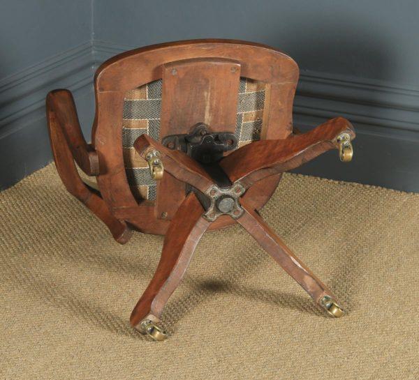 Antique English Edwardian Beech & Green Leather Revolving Office Desk Arm Chair (Circa 1910) - yolagray.com