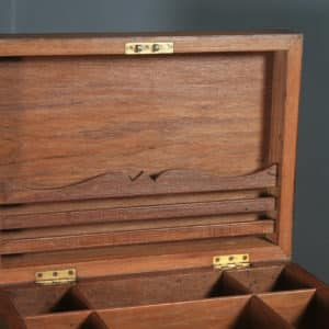 Antique Anglo-Indian Victorian Colonial Campaign Teak & Brass Writing Box / Storage Chest (Circa 1880) - yolagray.com