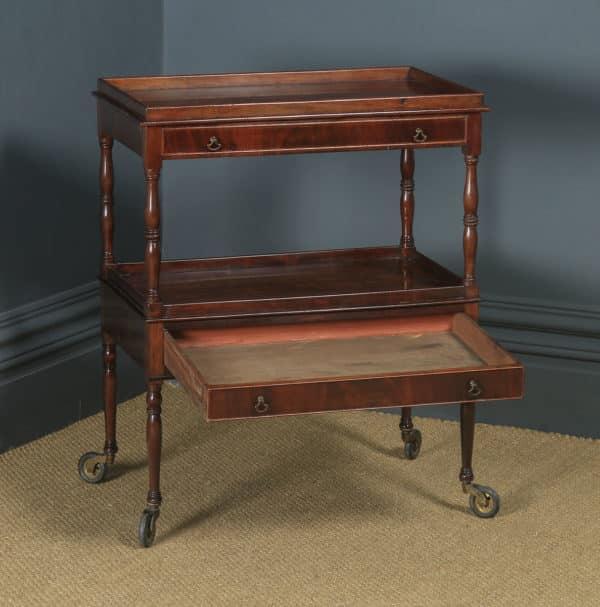 Antique English Edwardian Regency Style Flame Mahogany Side Table / Serving Trolley (Circa 1910) - yolagray.com