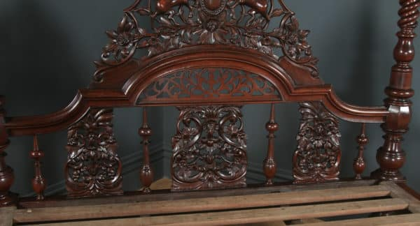 Antique 6ft Victorian Anglo-Indian Colonial Raj Super King Size Four Poster Bed (Circa 1870) - yolagray.com