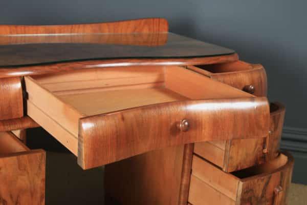 Antique English Art Deco Figured Walnut & Glass Cloud Shaped Pedestal Office Desk (Circa 1930) - yolagray.com