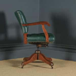 Antique English Edwardian Solid Oak & Green Leather Upholstered Revolving Office Desk Arm Chair (Circa 1910) - yolagray.com