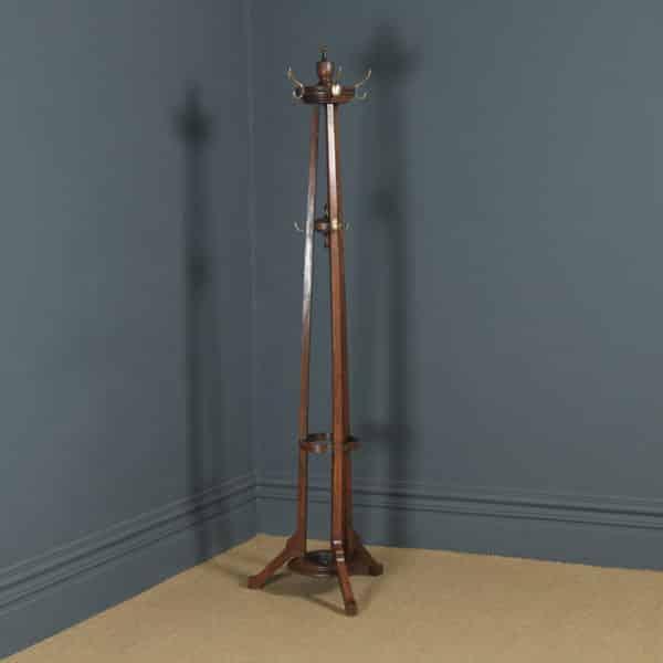 Antique George V Oak & Brass Arts & Crafts Revolving Coat, Hat, Stick & Umbrella Hall Stand (Circa 1920) - yolagray.com