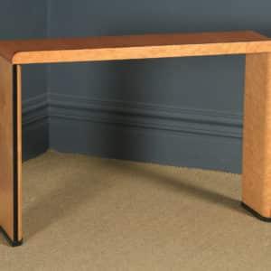 Antique English Art Deco Birds Eye Maple & Walnut Occasional Side / Console Table (Circa 1930) - yolagray.com