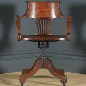 Antique English Edwardian Solid Oak Revolving Office Desk Arm Chair (Circa 1910) - yolagray.com